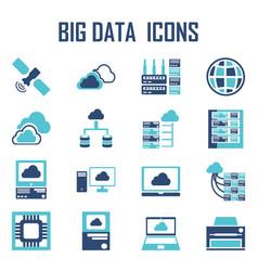 big data icons vector image vector image