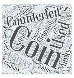 BWCC detecting counterfeit coins Word Cloud vector image