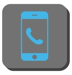 Cell phone rounded square button vector
