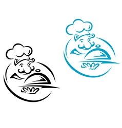 Chef with silver tray in cartoon style vector image vector image
