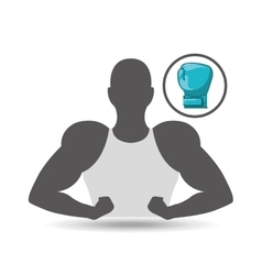 silhouette man showing muscle with boxing glove vector image