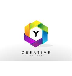y letter logo corporate hexagon design vector image vector image