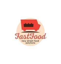 Cartoon fast food truck logo vector