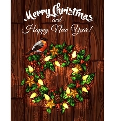 Christmas wreath with holly on wooden background vector image vector image