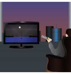The person watching TV vector image vector image