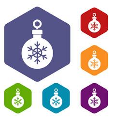 ball for the christmas tree icons set vector image