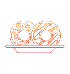 donuts on dish in degraded orange to magenta color vector image vector image