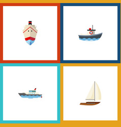 flat icon boat set of transport delivery vector image