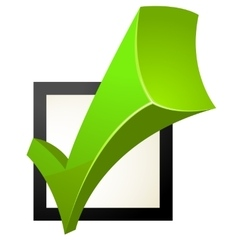Green check box with check mark vector image
