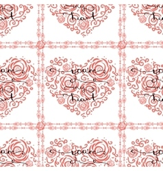 Seamless pattern with heart and lettering vector image
