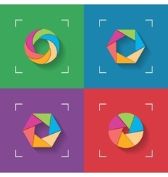 Shutter flat icons vector image