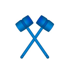 two crossed wooden mallets in blue design vector image vector image