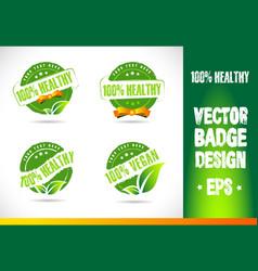 100 healthy Badge Logo vector