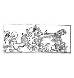 A lion hunt relief vintage vector