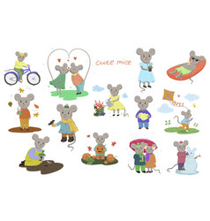 a set cute mice for different activities vector image