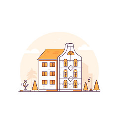 Apartment house - modern thin line design style vector