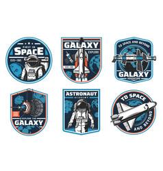 Astronaut academy galaxy explore icons vector