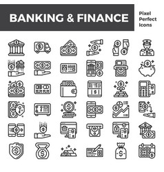 banking and finance outline icon base on pixel vector image