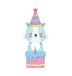 Bashower cute cat with hat cake announce vector