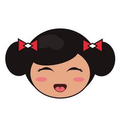 beauty face kokeshi girl japanese vector image