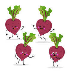 Beet cute vegetable character set vector