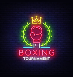 boxing neon sign design template boxing vector image