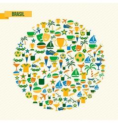Brazil soccer icons set shape circle vector image