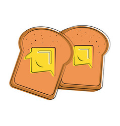 Bread slices with butter food related image vector