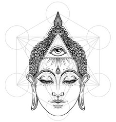 Buddha face with all seeing eye isolated on white vector