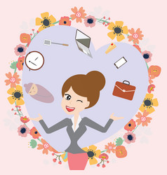 Business mom balance work and life vector