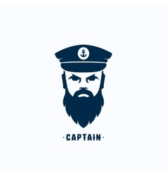 Captain Face Silhouette Logo Template vector image