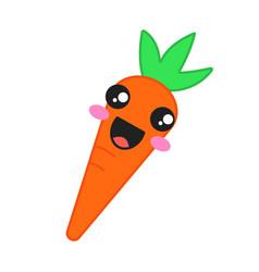 Carrot cute kawaii character vector