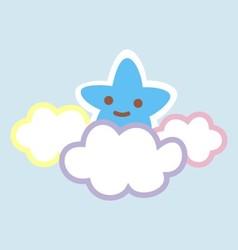 Cartoon sky star clouds colorful vector