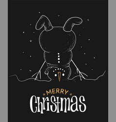 Christmas greeting card design with upside down vector