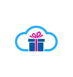 Cloud gift logo icon design vector