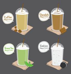 coffee chocolate green tea cookie cream smoothie c vector image