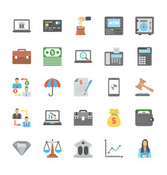 Collection of business and finance flat icons vector