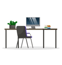 comfort workplace with computer at office or home vector image