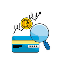Credit card with bitcoin arrow currency vector