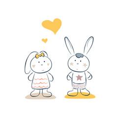 Cute bunny couple romantic date vector