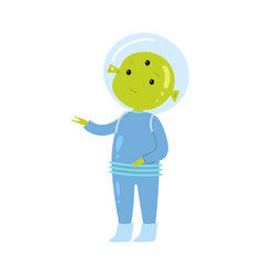 Cute green alien in blue spacesuit show to his vector