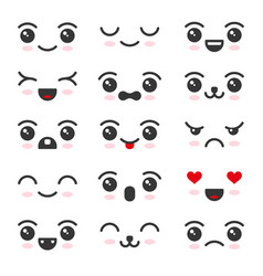 cute kawaii face icon set on white background vector image