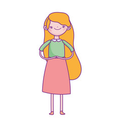 cute young woman standing long hair cartoon design vector image