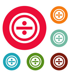 Divide icons circle set vector
