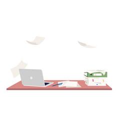 Empty workplace semi flat rgb color vector