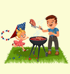 family resting in park or garden dad grilling vector image