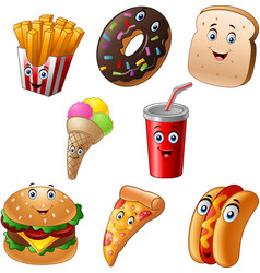 Fast food cartoon collection set vector