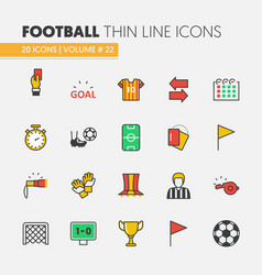 Football soccer linear thin line icons set vector