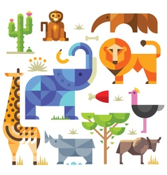 Geometric flat Africa animals and plants vector image