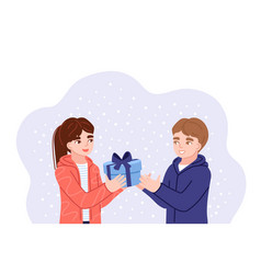 Girl and boy exchanging christmas gifts kids vector